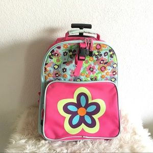 HANNA ANDERSSON Pink Flower Rolling Backpack